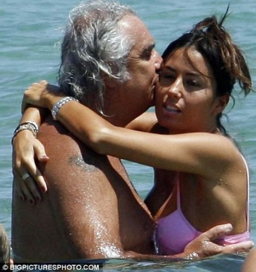 Flavio Briatore with His Wife and Man Boobs