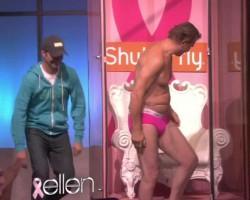 Liam Neeson Man Boobs on Ellen Show