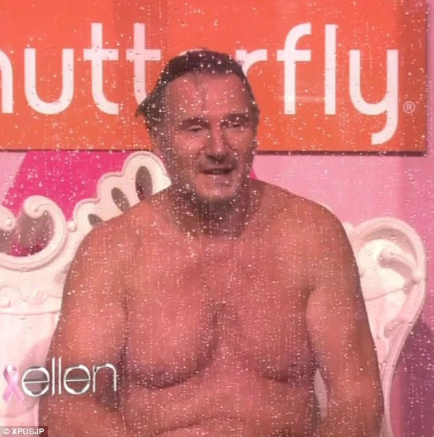 Liam Neeson Shows off Man Boobs
